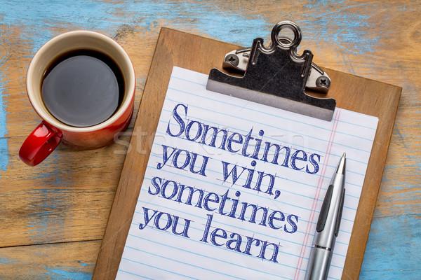 Kazanmak öğrenmek motivasyon metin fincan Stok fotoğraf © PixelsAway