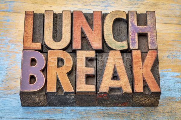 昼休み バナー 木材 タイプ 文字 ヴィンテージ ストックフォト © PixelsAway