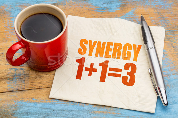 synergy concept on napkin Stock photo © PixelsAway
