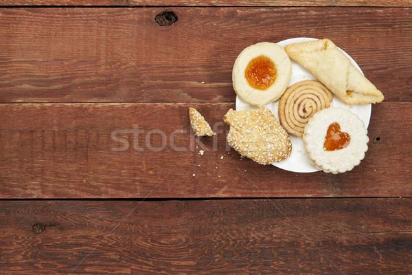 Cookies rustique table plaque rouge Photo stock © PixelsAway