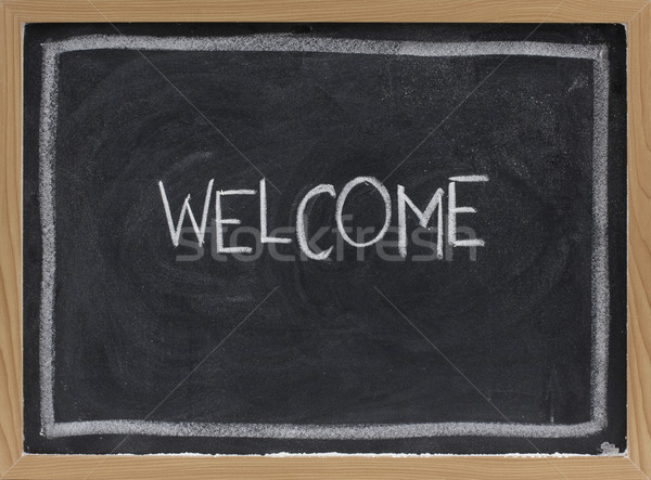 welcome on blackboard Stock photo © PixelsAway