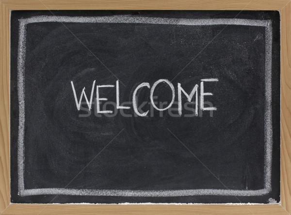 Benvenuto lavagna bianco gesso calligrafia eraser Foto d'archivio © PixelsAway