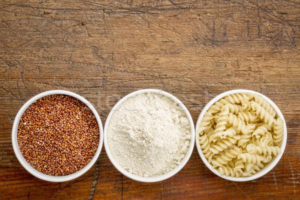 quinoa grain, flour and pasta Stock photo © PixelsAway