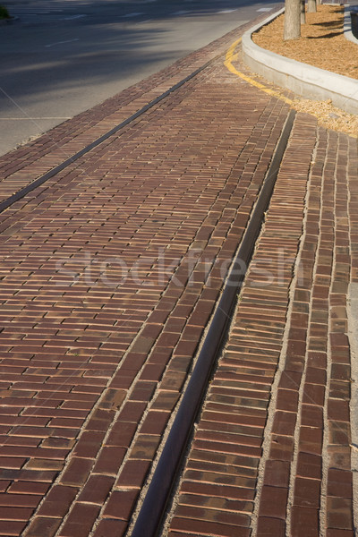 Stock photo: Remains of old streetcar track