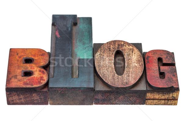ストックフォト: ブログ · 言葉 · 混合した · 木材 · タイプ · 孤立した