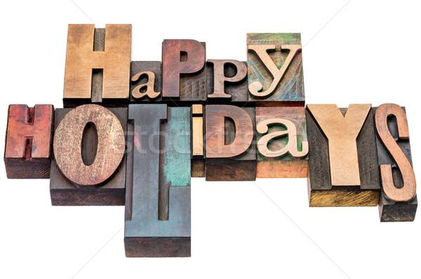 Heureux vacances bois type carte de vœux Photo stock © PixelsAway