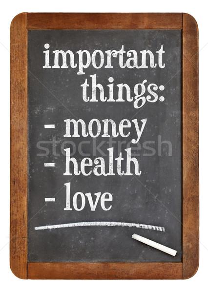 деньги здоровья любви список важный вещи Сток-фото © PixelsAway