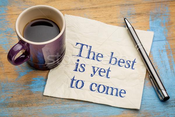 Meilleur écriture serviette tasse espresso Photo stock © PixelsAway