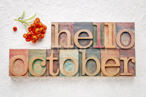 hello October word abstrtact in wood type Stock photo © PixelsAway