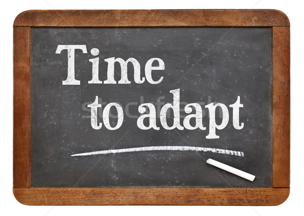Time to adapt blackboard sign Stock photo © PixelsAway