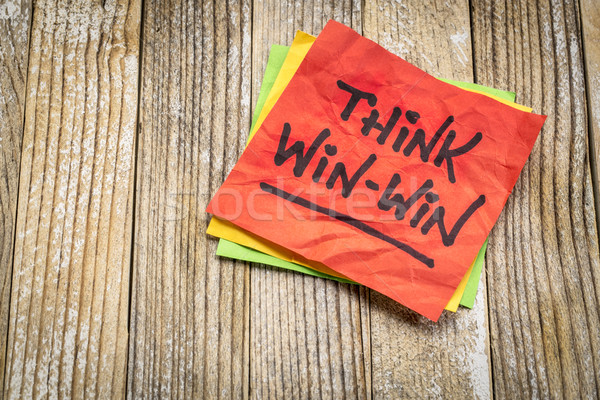 Think win-win reminder on sticky note Stock photo © PixelsAway