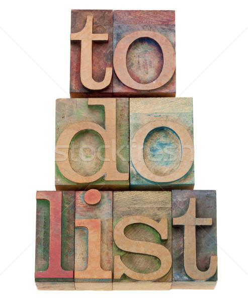 to do list headline in letterpress type Stock photo © PixelsAway