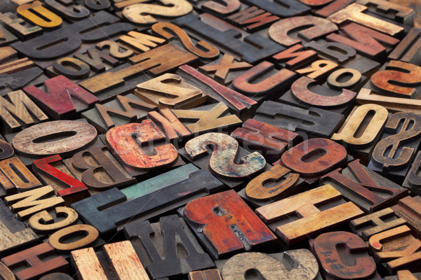 antique letterpress printing blocks Stock photo © PixelsAway