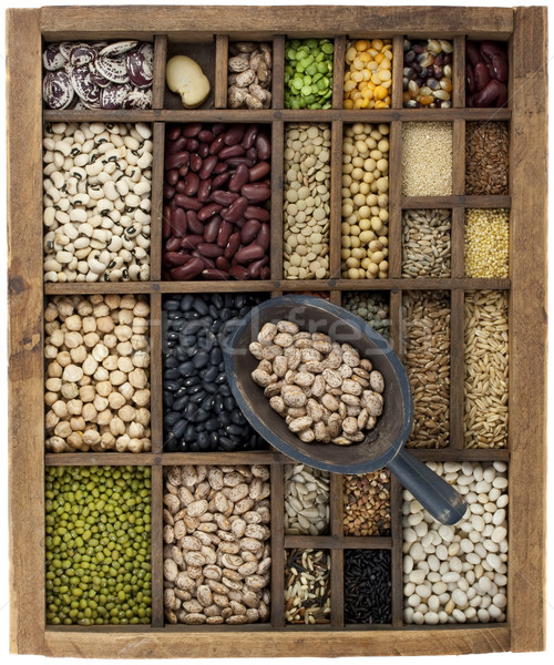 variety of beans and  in vintage typesetter box with scoop Stock photo © PixelsAway