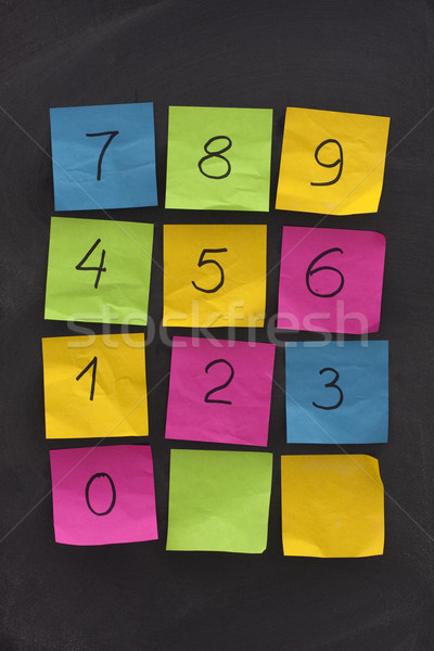 arabic numerals on sticky notes and blackboard Stock photo © PixelsAway
