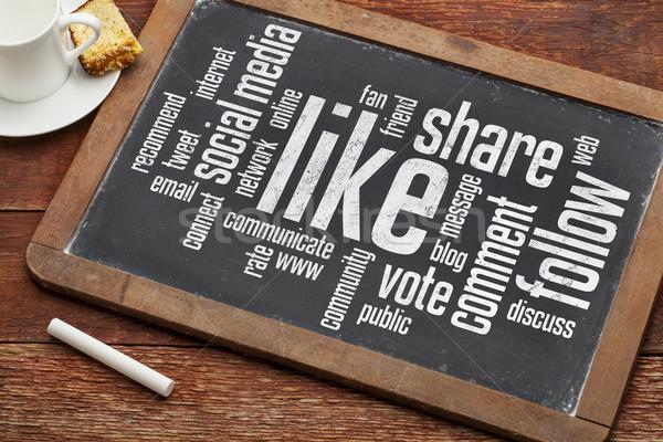 like, follow, share word cloud Stock photo © PixelsAway