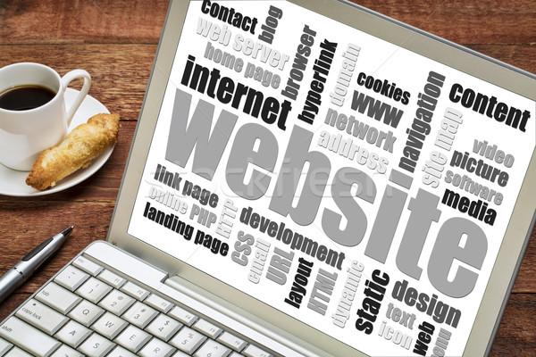 Website woordwolk laptop scherm beker koffie Stockfoto © PixelsAway