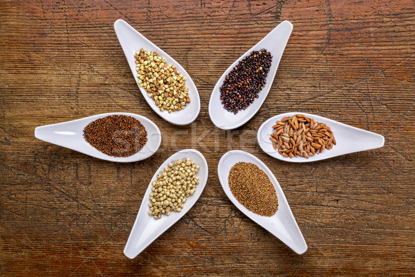 six  healthy, gluten free grains Stock photo © PixelsAway