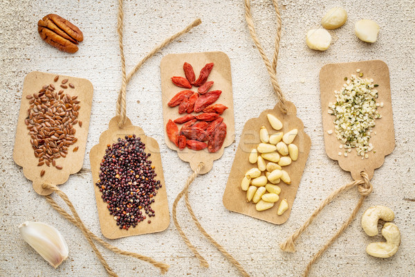 berries, nuts, grains and seeds - superfood abstract Stock photo © PixelsAway