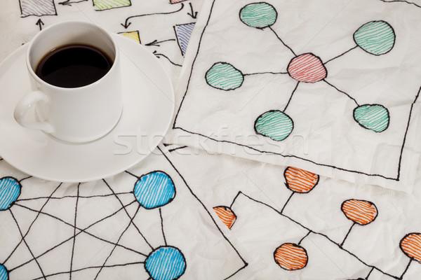 ネットワーク ナプキン いたずら書き 異なる 白 エスプレッソ ストックフォト © PixelsAway
