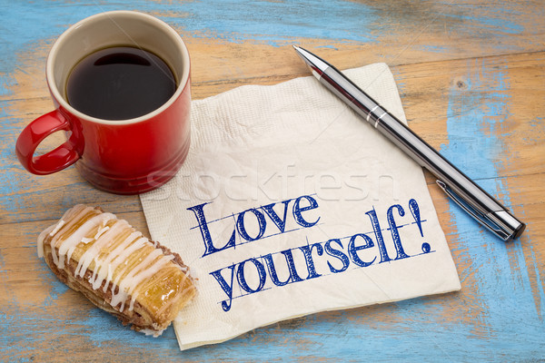 Love yourself advice on napkin Stock photo © PixelsAway