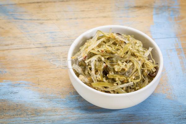 Kom zeewier salade klein keramische grunge Stockfoto © PixelsAway