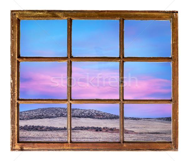 Naplemente égbolt öreg ablak színes klasszikus Stock fotó © PixelsAway