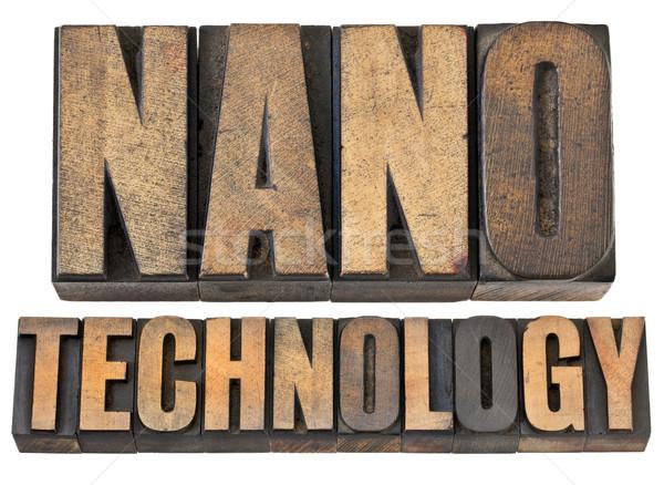 ストックフォト: ナノテクノロジー · 木材 · タイプ · 孤立した · 文字 · ヴィンテージ