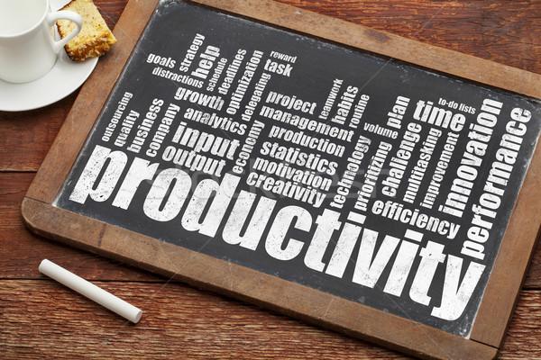 Produktivitás szófelhő klasszikus iskolatábla kréta kávé Stock fotó © PixelsAway