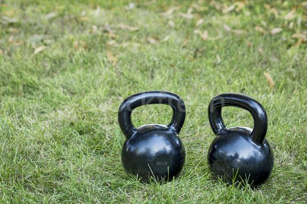two heavy iron  kettlebells Stock photo © PixelsAway