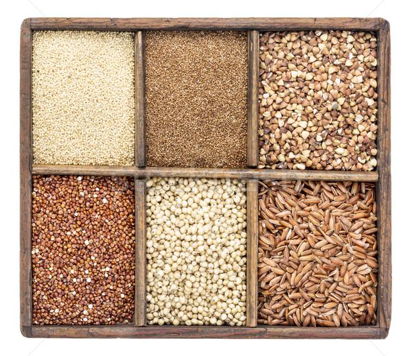 Sin gluten rústico cuadro variedad marrón Foto stock © PixelsAway