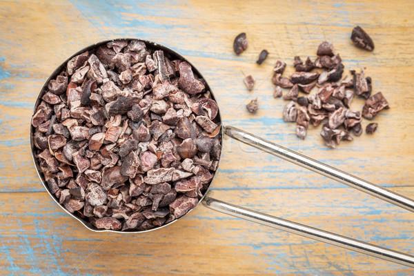 Ruw cacao metaal schep houten Stockfoto © PixelsAway