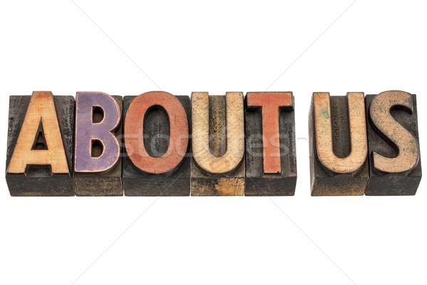 Over ons woorden hout type geïsoleerd vintage Stockfoto © PixelsAway