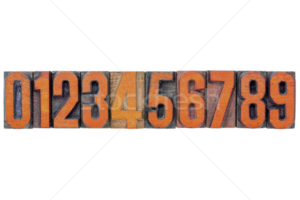 number abstract in wood type Stock photo © PixelsAway