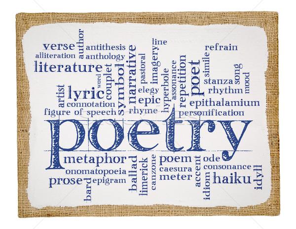 Poesie Wort-Wolke Kunst Leinwand Handschrift gestreckt Stock foto © PixelsAway