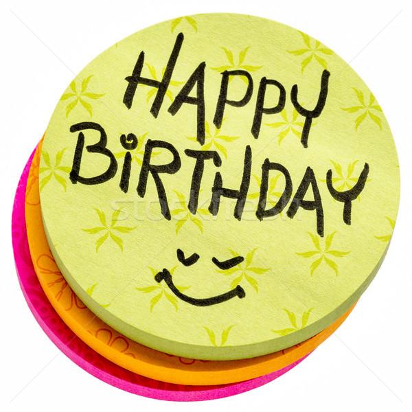 happy birthday on a sticky note Stock photo © PixelsAway