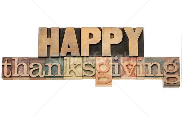 Stock photo: Happy Thanksgiving in wood type