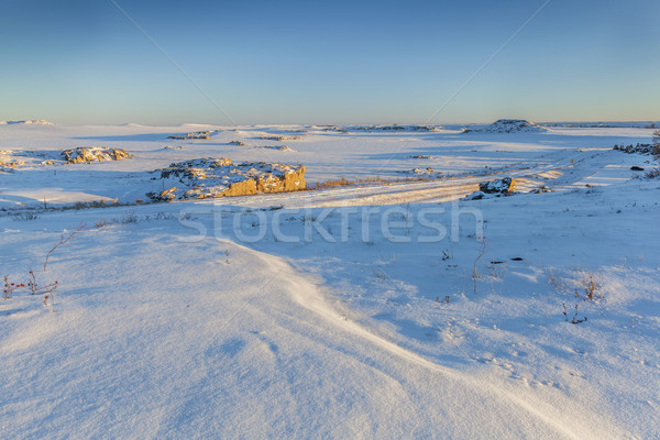 Colorado prairie winter rock gedekt sneeuw Stockfoto © PixelsAway
