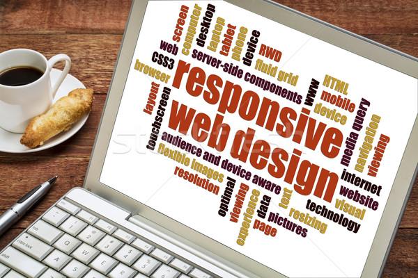 Di risposta web design word cloud laptop schermo Cup Foto d'archivio © PixelsAway