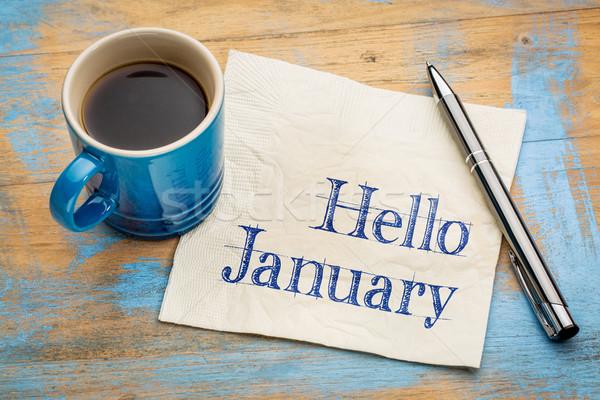 Hello January on napkjn Stock photo © PixelsAway