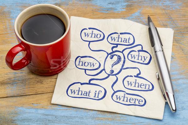 Lluvia de ideas cuestión servilleta café qué la toma de decisiones Foto stock © PixelsAway
