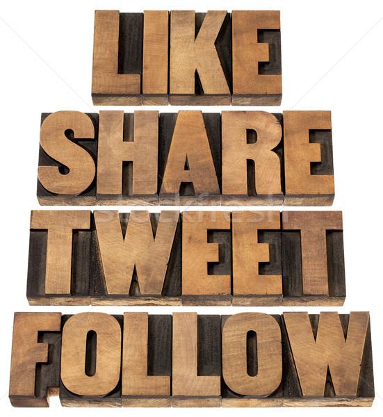 like, share, tweet, follow Stock photo © PixelsAway