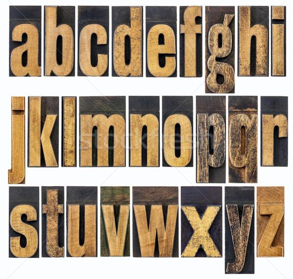 Alfabet drewna typu angielski kolaż Zdjęcia stock © PixelsAway