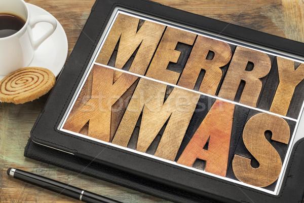陽気な クリスマス デジタル タブレット 木材 ストックフォト © PixelsAway