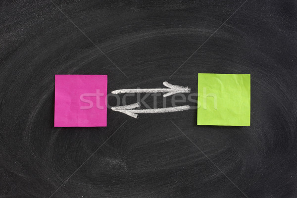Wisselwerking terugkoppeling Blackboard sticky notes gum Stockfoto © PixelsAway
