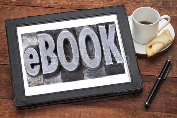 Ekönyv elektronikus könyv szó grunge magasnyomás Stock fotó © PixelsAway