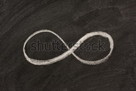 Oneindigheidssymbool Blackboard oneindigheid witte krijt wiskundig Stockfoto © PixelsAway