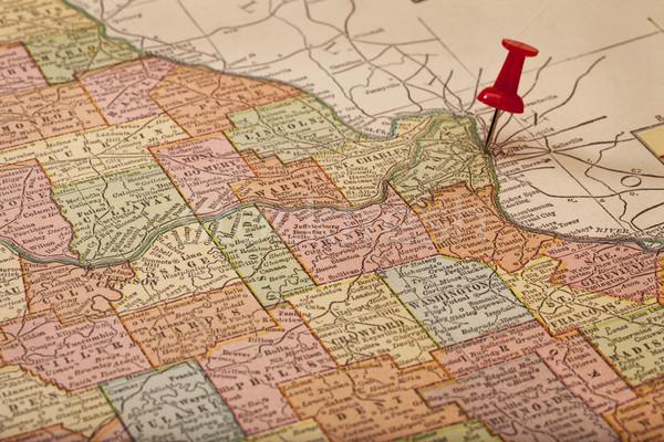 Mississipi Missouri vintage mapa 1920 Foto stock © PixelsAway