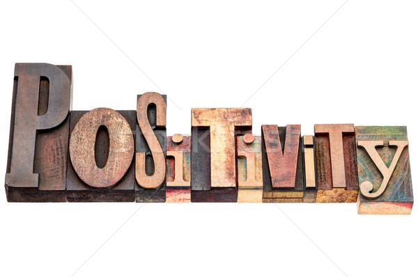 Positivität Wort Typografie isoliert Text gemischte Stock foto © PixelsAway