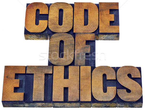 code of ethics word abstract in wood type Stock photo © PixelsAway